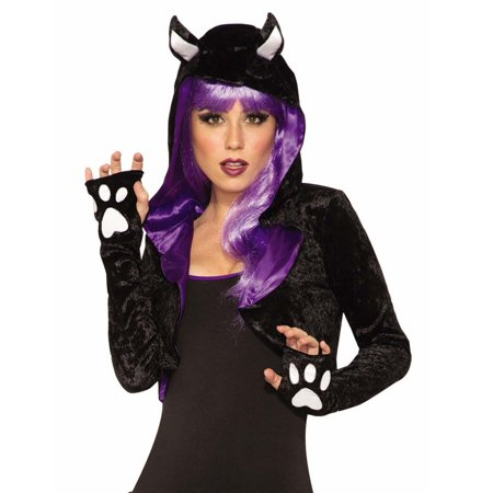 Forum Sexy Black Cat Costume Shrug, Black Purple White, One-Size 12 - Halloween Forum Set Tutorials