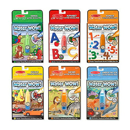 Melissa & Doug On the Go Water Wow! Reusable Water-Reveal Activity Pads, 6-pk - Water Wow Melissa And Doug