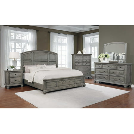 Best Master Furniture 5 Pcs Cal. King Bedroom Set in Grey Rustic Wood