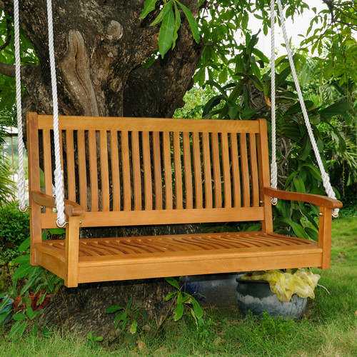International Caravan Royal Tahiti Balau Wood Porch Swing