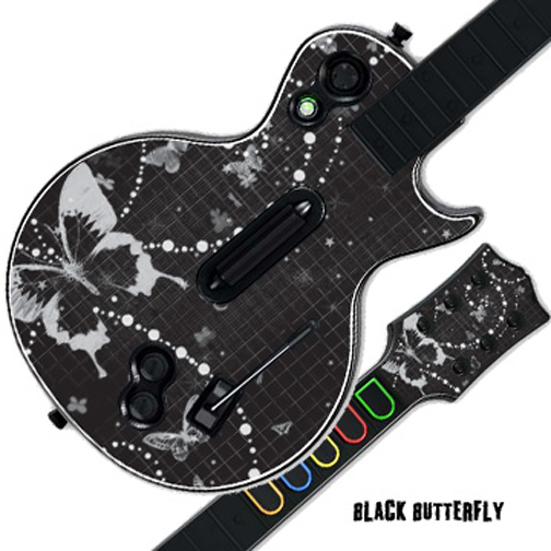 Mightyskins Protective Skin Decal Cover Sticker for GUITAR HERO 3 III PS3 Xbox 360 Les Paul - Black Butterfly