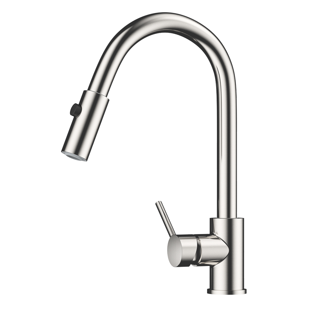 Kitchen Faucet Single Handle Contemporary Design High Arc Pull Down