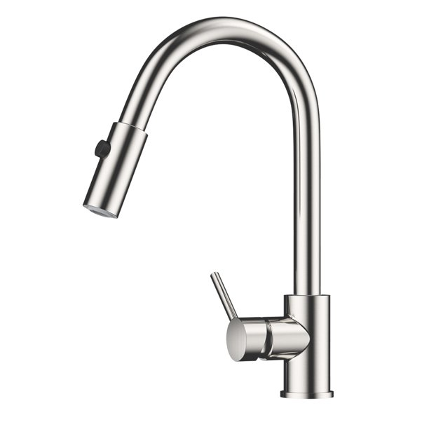 Galileo Commercial Single Handle High Arch Brushed Nickel Kitchen Faucets With Pull Down Sprayer Walmart Com Walmart Com