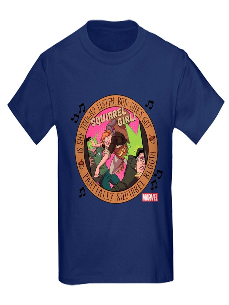 CafePress - Squirrel Girl Action - Kids Dark T-Shirt