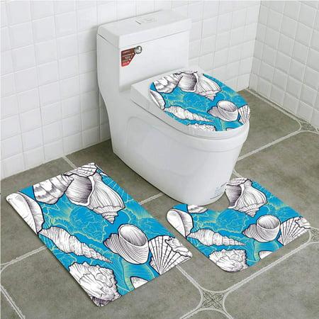 EREHome Vector Seamless Seashells 3 Piece Bathroom Rugs Set Bath Rug Contour Mat and Toilet Lid Cover - image 2 de 2