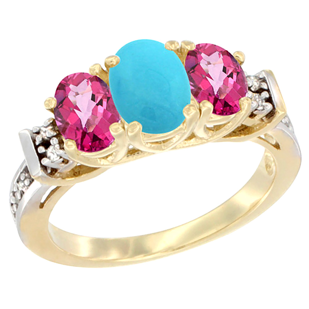 14K Yellow Gold Natural Turquoise & Pink Topaz Ring 3-Stone Oval Diamond Accent by WorldJewels