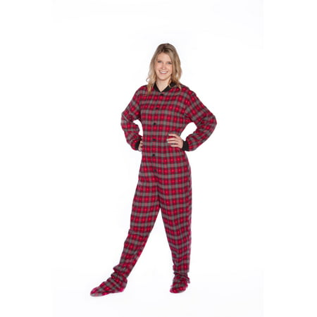 Red & Grey Plaid Flannel w/ Hearts Adult footie Footed Pajamas w/ Drop-seat Flannel Footed Pajamas