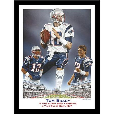 Buy Art For Less Tom Brady 5 Time Super Bowl Champion 4 Time Super Bowl Mvp By Darryl Vlasak Framed Memorabilia
