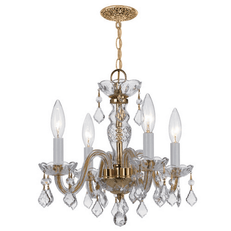 Mini Chandeliers 4 Light With Polished Brass Clear Swarovski Strass Crystal 15 inch 240 Watts - World of Lighting