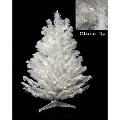 "18"" x 11"" Pre-Lit Snow White Artificial Christmas Tree - Candlelight Clear LED Lights"