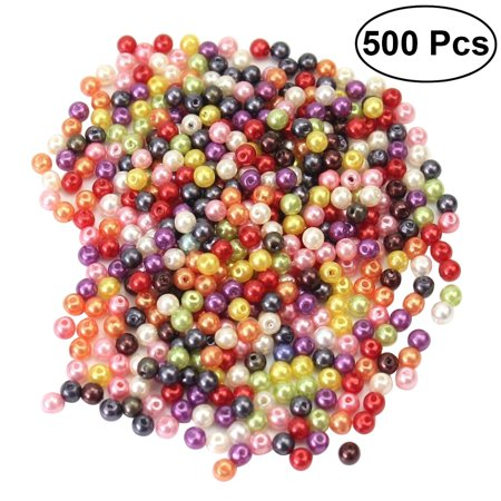 500pcs Round Glass Pearl Beads Strands Dyed Beads for Jewelry Necklace Craft Making