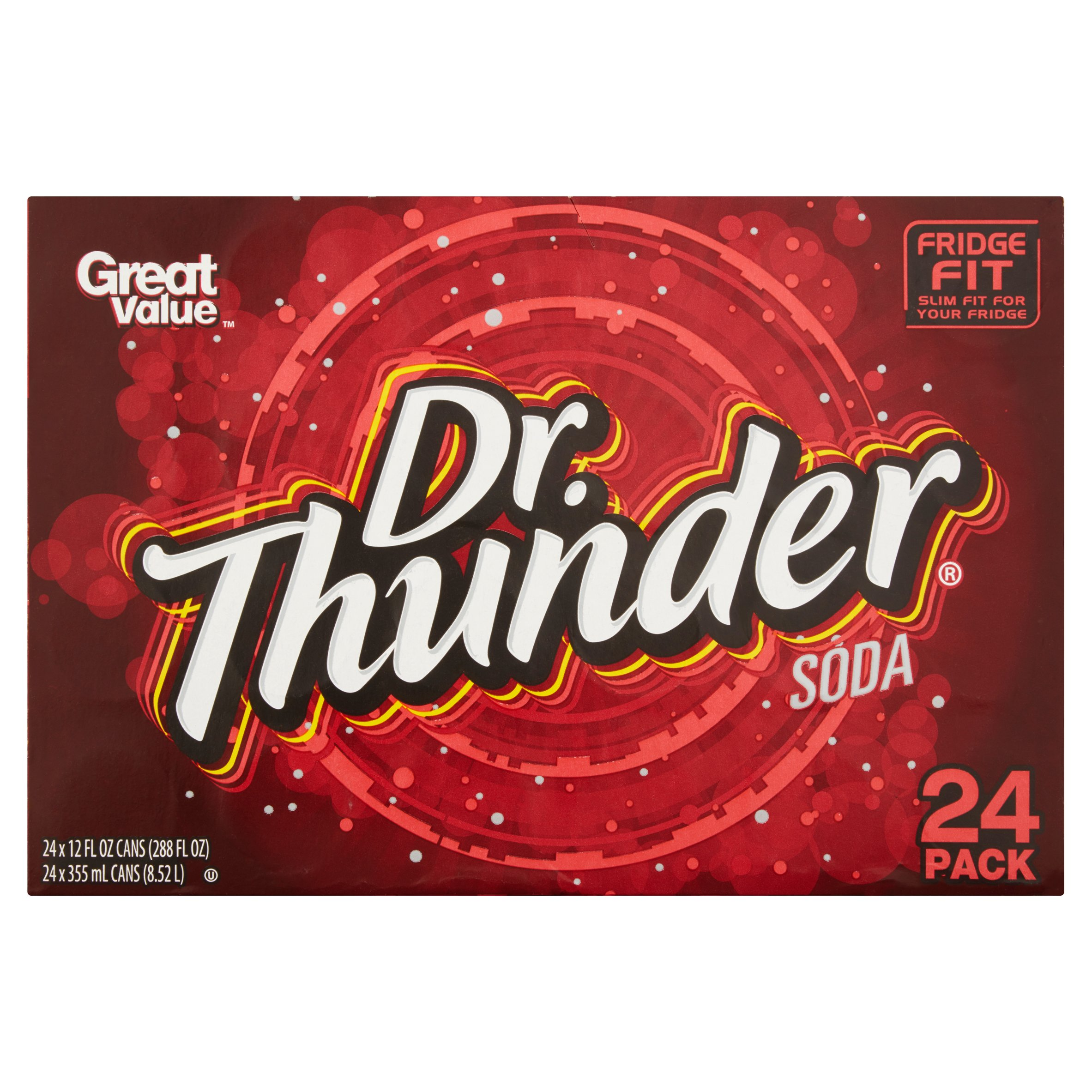 Great Value Dr. Thunder Soda, 12 fl oz, 24 pack