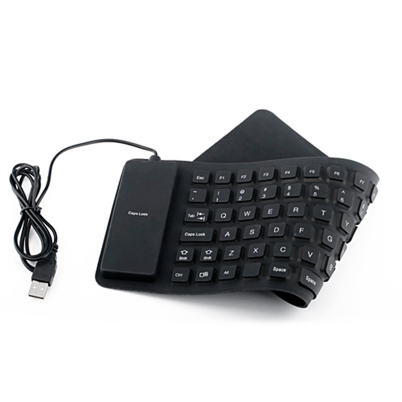 HDE Wired USB Spillproof Roll Up Portable Folding Pocket Silent Typing Silicone Keyboard