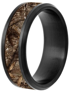 Men's Black IP Stainless Steel 8mm Wedding Band with Camo Inlay
