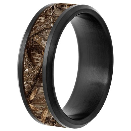 Men's Black IP Stainless Steel 8mm Wedding Band with Camo Inlay (Camo For Men Rings)