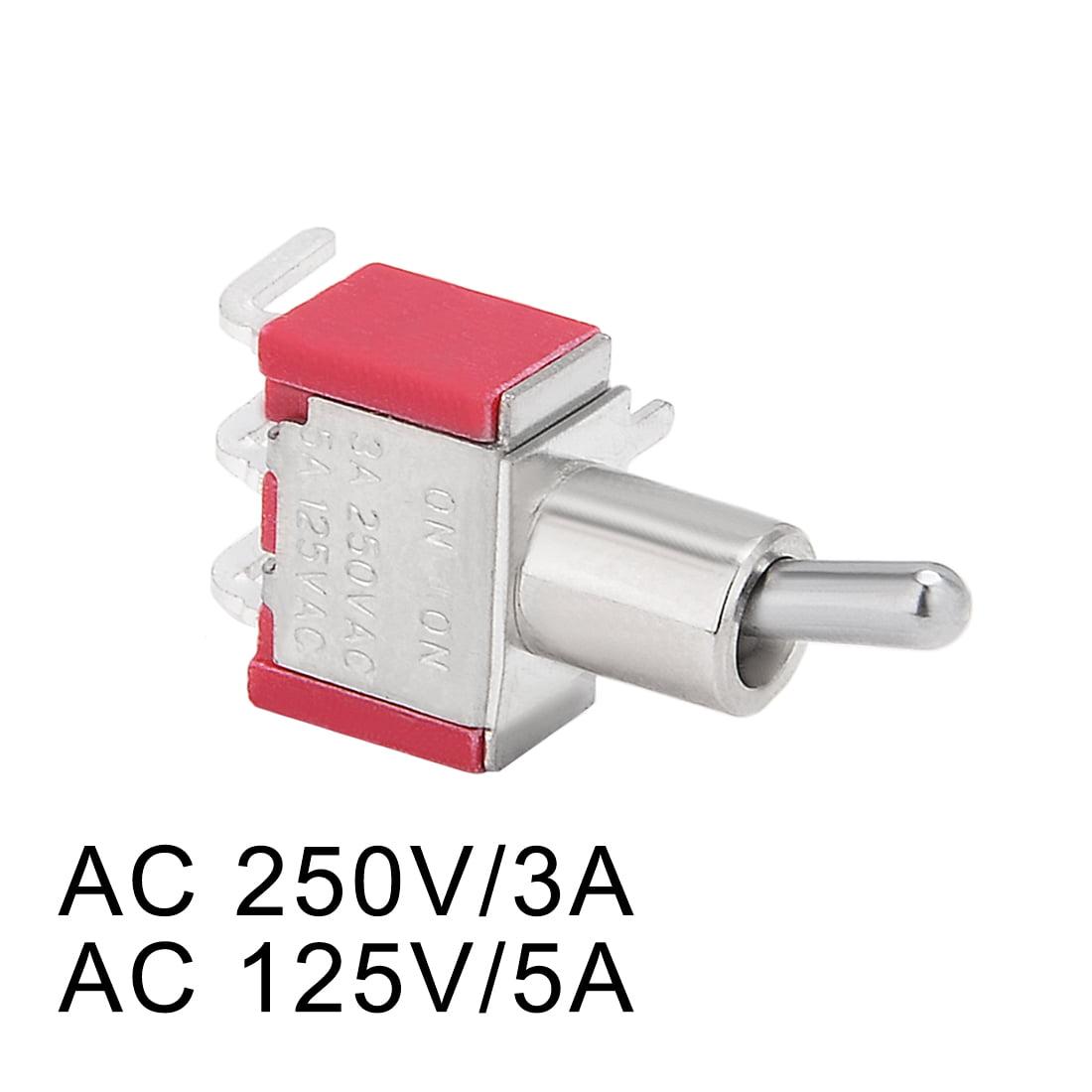 AC 250V/3A 125V/5A ON/ON SPDT interrupteur à bascule ton argent bornes angle droit - image 1 de 4