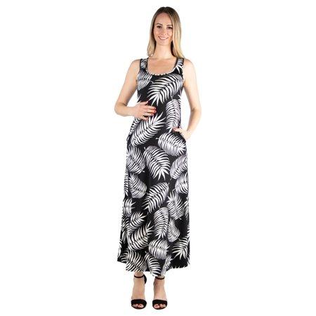 8cd937249125 24/7 Comfort Apparel - 24seven Comfort Apparel Feather Print Sleeveless  Maternity Tank Maxi Dress with Pockets - Walmart.com