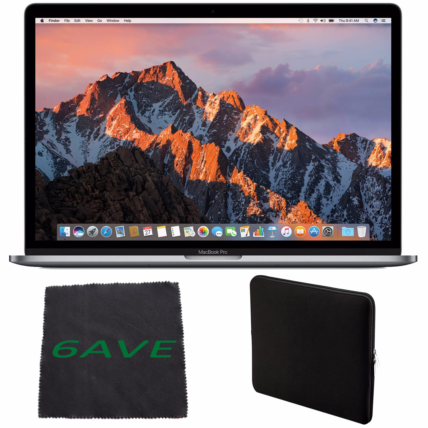 Apple MacBook Pro MLH32LL/A 15.4-inch Laptop with Touch Bar (2.6GHz quad-core Intel Core i7, 256GB Retina Display), Space Gray + Padded Case For Macbook + MicroFiber Cloth Bundle