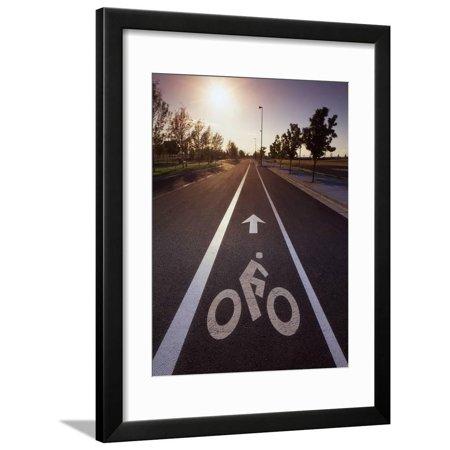 Usa, Oregon, Portland. Bike rider sign on street. Framed Print Wall Art By Jaynes