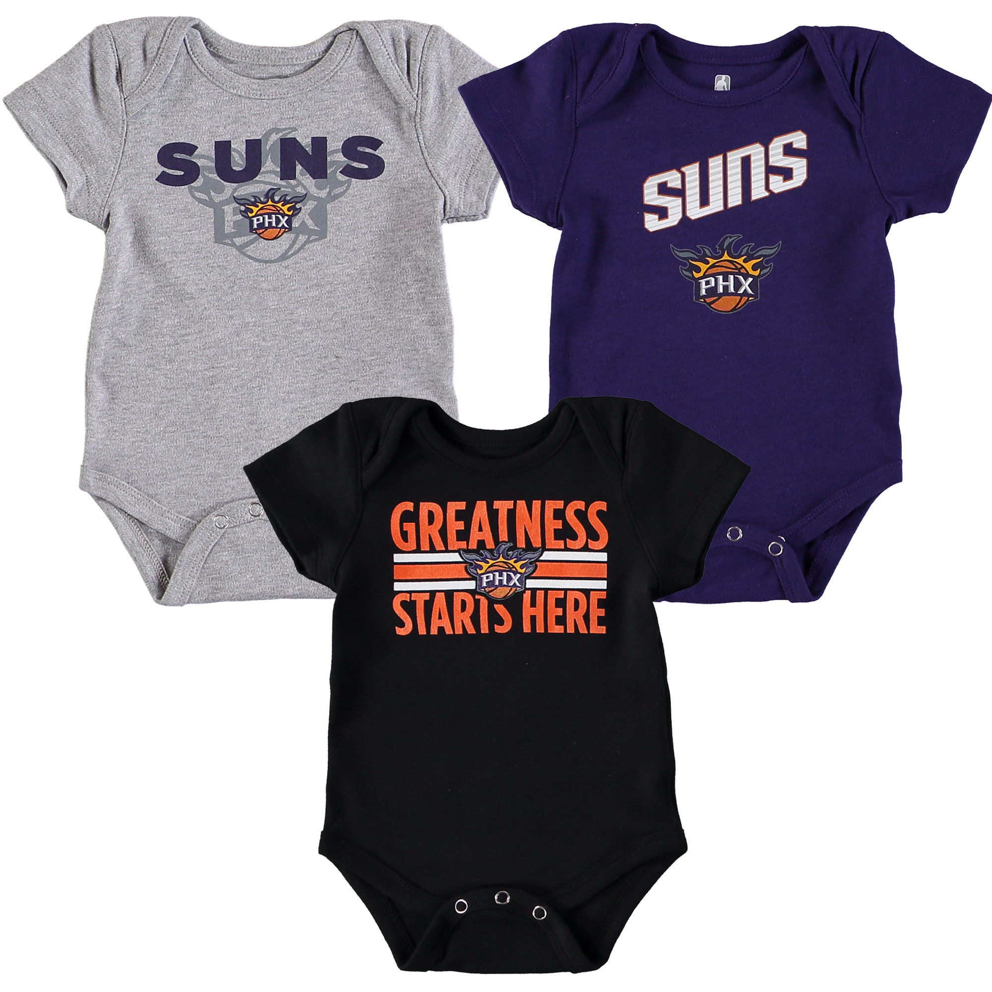 Phoenix Suns Newborn & Infant Three-Pack Bodysuit Set - Black/Purple/Gray