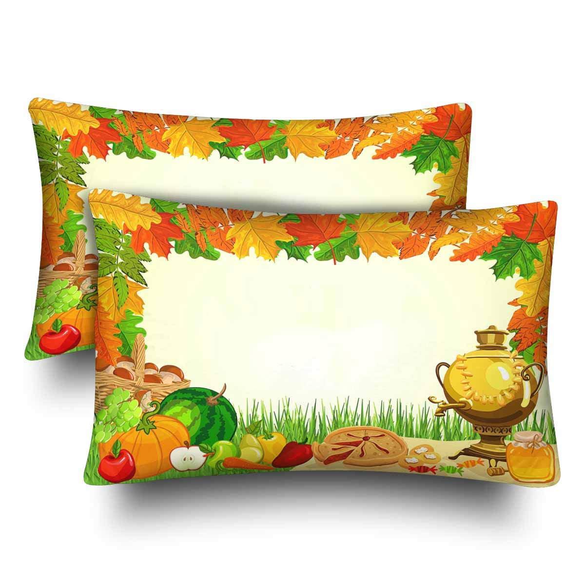 GCKG Autumn Picnic Watermelon Pumpkin Pizza Fall Harvest Pillow Cases Pillowcase 20x30 inches Set of 2 - image 4 of 4