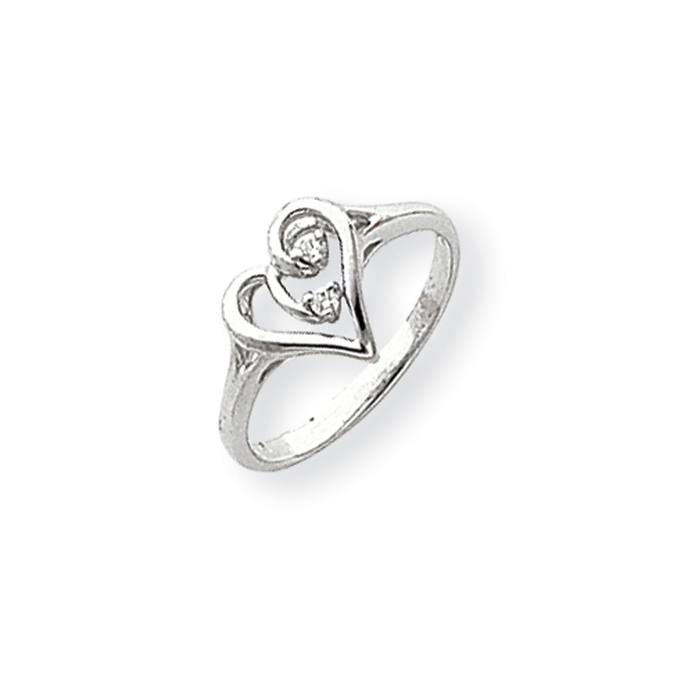 14k White Gold Polished H-I SI2 Quality Diamond Heart Ring. Carat Wt- 0.032ct