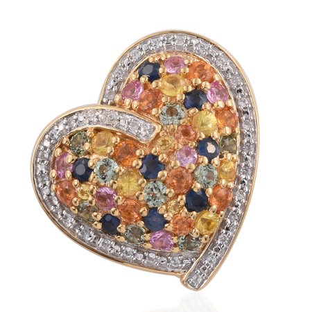 925 Sterling Silver Yellow Gold Plated Green Sapphire yellow Sapphire Pendant for Women Cttw 2.6