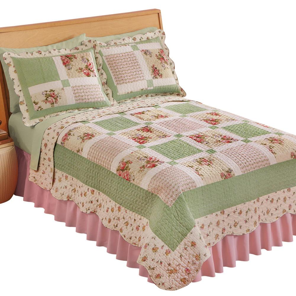 Miniature Floral Border Cottage Patchwork Quilt, King, Green