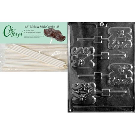 Cybrtrayd 45St25-V040 Kiss Lolly Valentine Chocolate Candy Mold with 25 4.5-Inch Lollipop Sticks