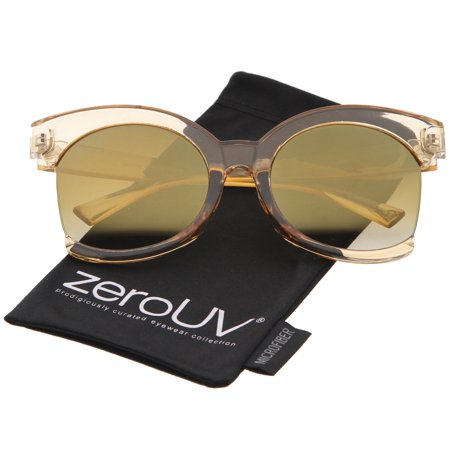 zeroUV - Women's Oversize Side Cut Transparent Frame Colored Mirror Cat Eye Sunglasses - 59mm