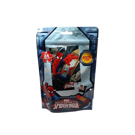 Marvel Spiderman Puzzle, 24 Piece in Resealable Bag for Easy Storage Silver Puzzle Piece