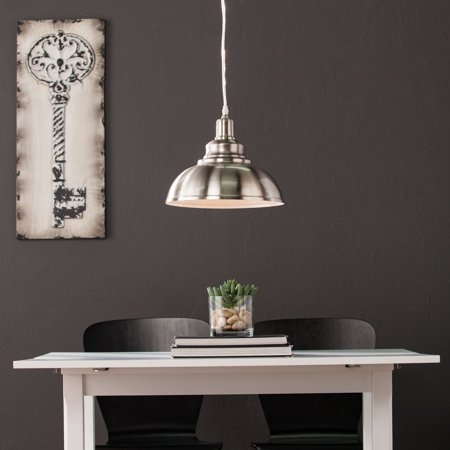 Southern Enterprises Merlyght Bell Pendant Lamp, Contemporary Style, Brushed Nickel