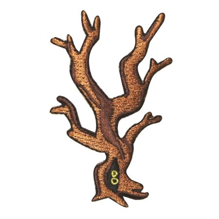 ID 0867 Scary Forest Tree Patch Halloween Eyes Woods Embroidered IronOn - Scary Eye Shapes