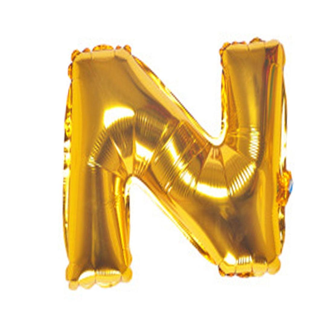 "Unique Bargains 40"" Gold Tone Foil Letter N Balloon Helium Birthday Wedding Festival Decor"