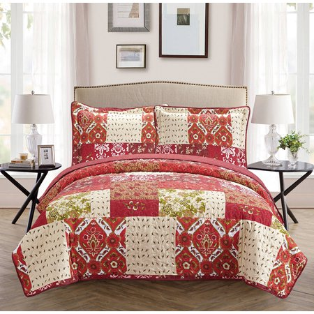 Fancy Collection 3pc Full/Queen Oversize Reversible Bedspread Bed Cover Floral Beige Red Green Brown Burgundy
