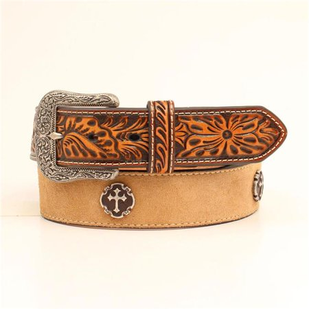 Ariat A1029448-34 1.50 in. Cross Conchos Embossed Leather TabsMens Belt & Buckle, Natural - Size 34 - image 1 of 1