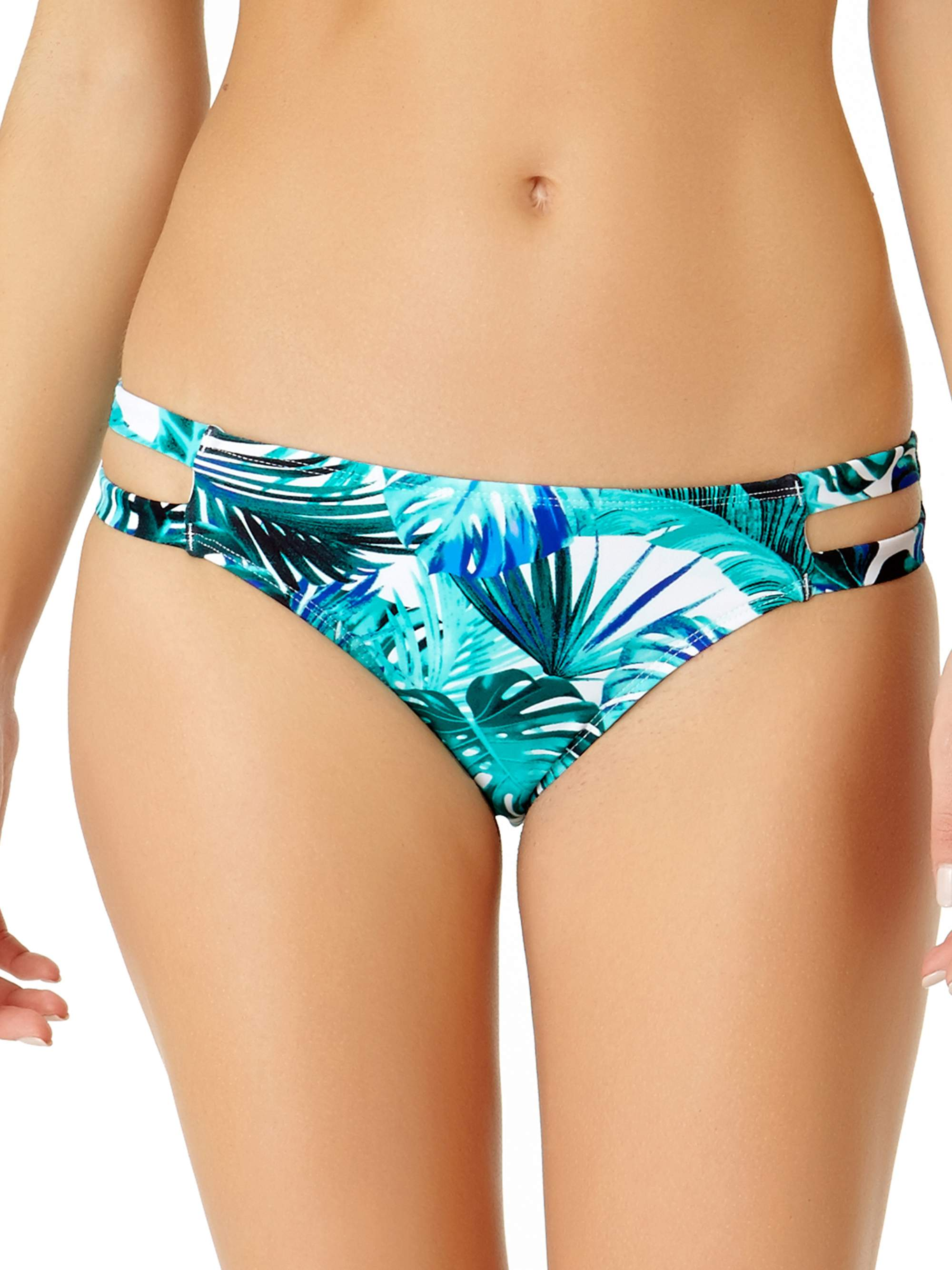 Juniors' Tropical Print Strappy Scoop Swim Bikini Bottom