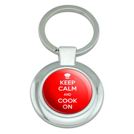 Cooks Hat (Keep Calm And Cook On Chef Hat Classy Round Chrome Plated Metal)