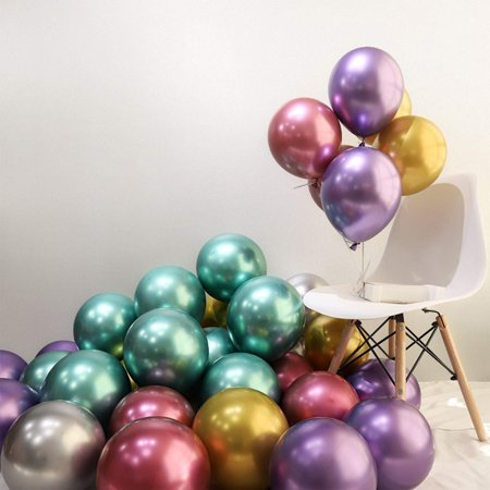 LAttLiv Party Balloons 50 Pcs Metallic Latex Chrome Birthday Helium Thick Shiny Perfect