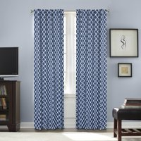 Better Homes and Gardens Tangier Printed Thermal 99 Percent Light Blocking Curtain, Rod Pocket