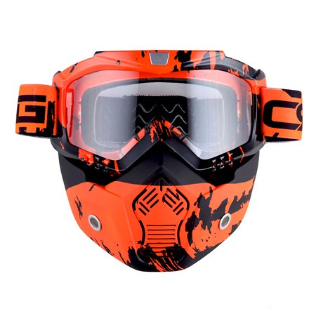 Motorcycle Goggles Mask, Detachable for Motocross Helmet Goggles use, Tactical Airsoft Goggles Mask: Valley Orange with Clear Lens ()
