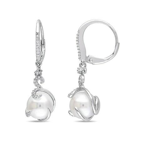 Freshwater Pearl Swirl Drop - 9-9.5mm White Cultured Freshwater Pearl and 1/5 Carat T.W. Diamond Sterling Silver Swirl Drop Earrings
