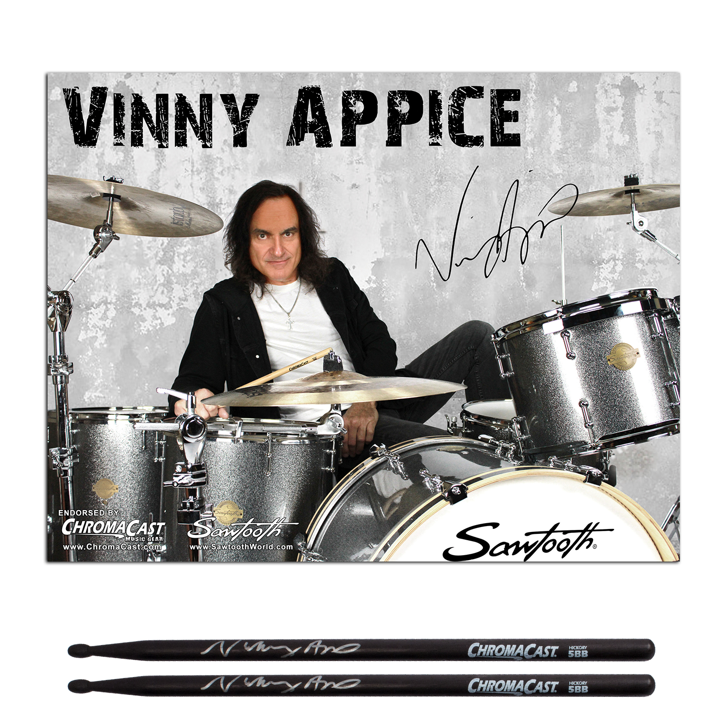 Vinny Appice Autographed Poster Pack & Signature Black 5B USA Hickory Drumstick Pack