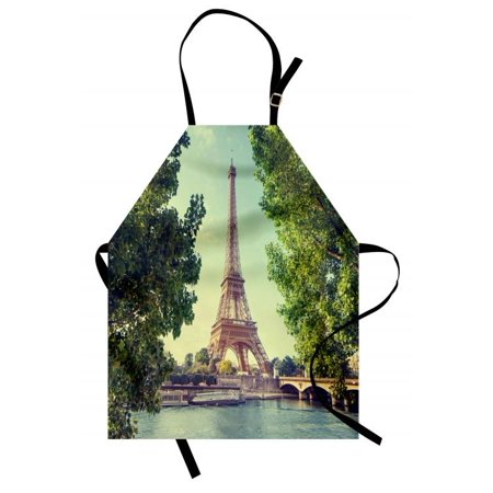 Paris Apron Eiffel Tower Seine River Picture France European Landmark Image, Unisex Kitchen Bib Apron with Adjustable Neck for Cooking Baking Gardening, Green Almond Green Pale Brown, by Ambesonne