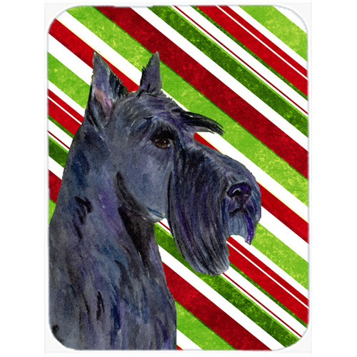 The Holiday Aisle Scottish Terrier Candy Cane Holiday Christmas Rectangle Glass Cutting Board