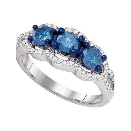 10kt White Gold Womens Round Blue Color Enhanced Diamond 3-stone Bridal Wedding Engagement Ring 1-1/5 Cttw - image 1 de 1