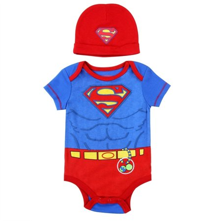 DC Comics Baby Boys' Superman Creeper with Hat - Superman Baby
