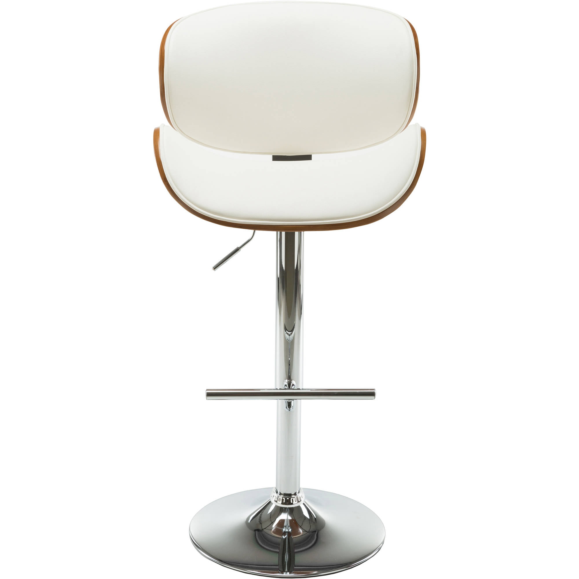 Modern Contemporary Swivel Walnut Bentwood Lift Adjustable Height Bar Stool with Curved Seat and Back (White) by AC Pacific