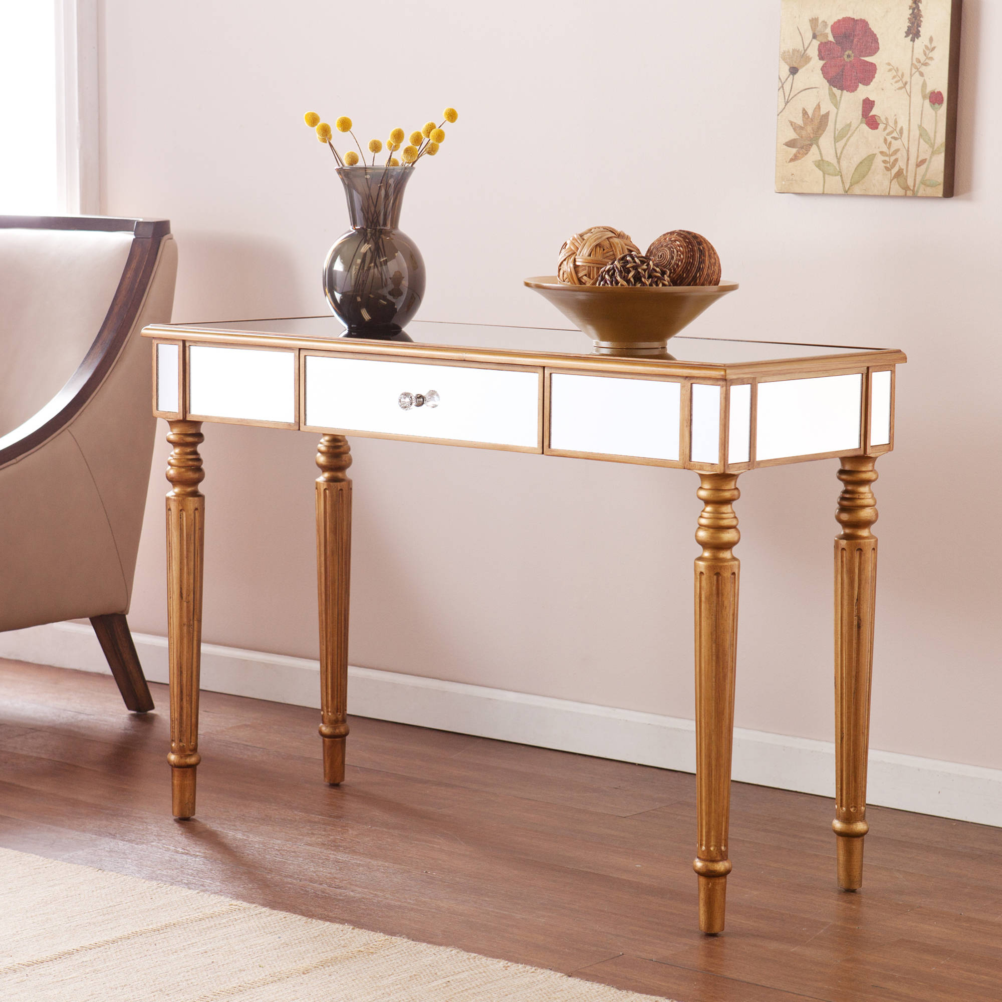 & Lorraine Mirrored Console Table Champagne Gold - Walmart.com