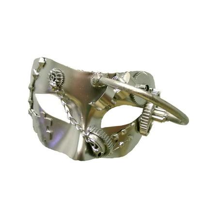 Adult's Metallic Silver Cyborg Steampunk Festival Tie Mask Costume Accessory](Cyborg Mask)
